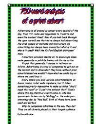 img      jpg  word essay example word analysis of a print advert    gcse media studies