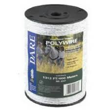 Dare 2347 <b>Electric Fence</b> Poly Wire, 1312' (<b>400 Meters</b>), White ...