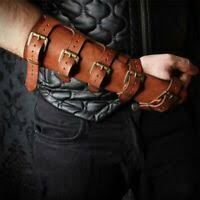 <b>Adult Men Medieval</b> Warrior Larp Knight leather Arm Bracer with ...