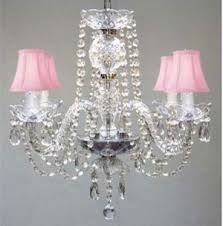 elegant pink beaded crystal baby girl nursery chandelier ceiling light fixture with silk mini shades baby bedroom ceiling lights