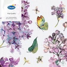 Купить <b>Салфетки бумажные Duni</b> Butterfly Lila 3 слоя 33*33см ...