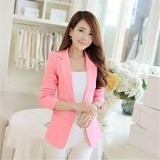 <b>Blazer Women Korean Short</b> Slim S 2XL Pink Black White Long ...
