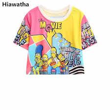 Hiawatha Women Crop Tops <b>2018</b> Summer <b>Cartoon Printed</b> Short ...