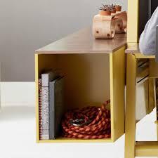 bivi trunk in yellow finish with a warm oak laminate top attached to bivi modular desk bivi modular office furniture