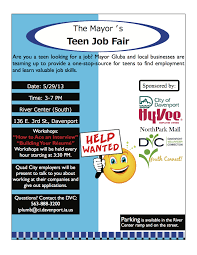 job fair for teens on th in davenport comcom teen employment fair flyer 1