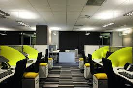 charming interior office design with green wall partition office desk including lighting ceiling along with striped charming cool office design