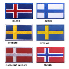 <b>Embroidered Iceland Finland Sweden</b> Denmark Norway Flag Patch ...