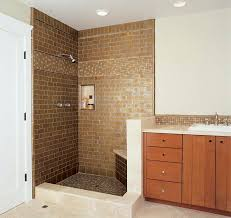 bathroom shower tile design color combinations: exciting brown color for shower tile ideas combining bright painted wall scheme