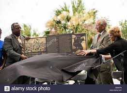 charleston or joe riley right and rev john paul brown john paul brown pastor of mt zion ame church unveil a memorial honoring the all black 54th massachusetts volunteer infantry on the 150th anniversary of