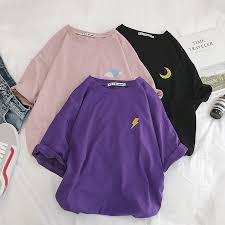 Harajuku T shirt <b>Women</b> Summer <b>Cotton</b> Cloud Lightning Sun ...