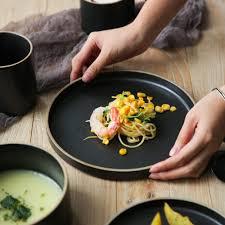 <b>NIMITIME Ceramic</b> Porcelain Dishes Black Grey Color <b>Dinner Plates</b> ...