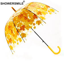 <b>SHOWERSMILE</b> Yellow Leaves <b>Umbrella Transparent</b> Mushroom ...