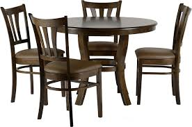 4 chair kitchen table: grosvenor round walnut table with four brown pu upholstered chairs please click to get details