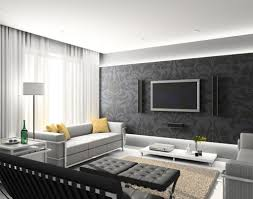 captivating modern living room decorating with wall flatscreen tv also furnished with sofa and chairs plus black tufted ottomans captivating living room design tufted