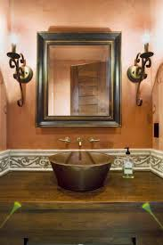 country bathroom colors: half bathroom tile ideas bathroom rustiv brown wooden bath vanity with brown wooden sink and wall