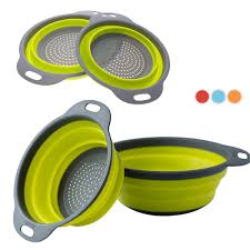 <b>2pcs lot Collapsible Silicone Colander</b> Folding Kitchen Silicone ...