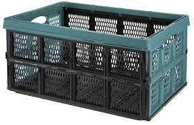 URBNLIVING <b>Collapsible</b> 32 Litre <b>Plastic Storage Crate</b> (Aquamarine)