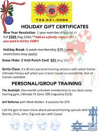 holiday gym gift certificates from ultimate fitness in monmouth county nj gym holiday specials