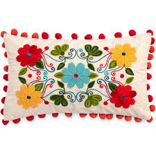 The Pioneer <b>Woman Floral Embroidery</b> 12x20 Decorative Pillow ...