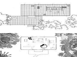 Farnsworth House Philip Johnson Glass House Floor Plan  glass
