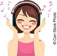 Image result for free clipart woman listening to music
