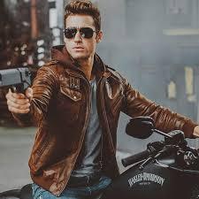 Brown Or <b>Black mens Genuine Leather</b> Jacket with removable Hoodie