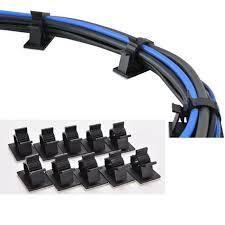 <b>Cord Wire Cable</b> Clips Plastic Self Adhesive <b>10 pcs</b> Set <b>Cable</b> ...