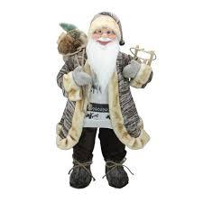"Northlight <b>24</b>"" Brown Standing <b>Santa Claus Christmas</b> Figurine With ..."