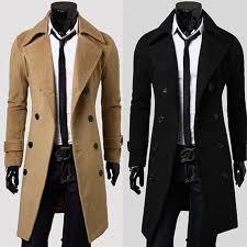 Online Shop <b>ZOGAA Mens Trench</b> Coat Turn Down Collar Long ...