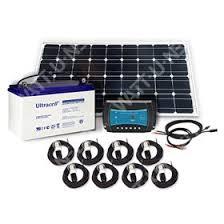 <b>LED Solar</b> kit 100Wp - 55Ah - 12V with <b>8 LED</b> bulbs