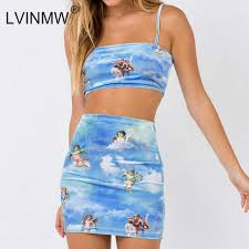 LVINMW Sexy Angel Cupid <b>Printed</b> Bodycon 2 Pieces Sets Fashion ...