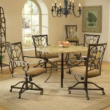 Dining Room Chairs With Casters And Arms Brookside Metal Round Dining Table Amp Caster Chairs Dining Chairs
