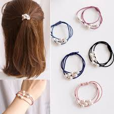 New <b>Fashion</b> Women Girls <b>Pearl</b> Elastic <b>Hair</b> Bands Ponytail Holder ...