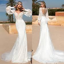 2019 Classy Long Sleeve Lace Mermaid Wedding Dresses <b>Vestido</b> ...