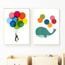 Whale Penguin Balloon <b>Cartoon Animals</b> Posters And <b>Prints Canvas</b> ...