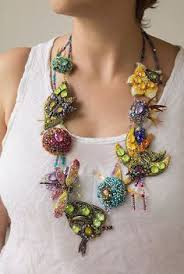 Amazing texture on this <b>asymmetric</b>, <b>bead</b> embroidered necklace, its ...