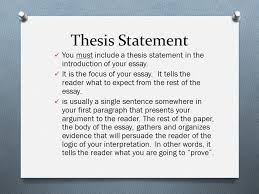 thesis statement topic  opinion  thesis statement  ppt download thesis statement you must include a thesis statement in the introduction of your essay it