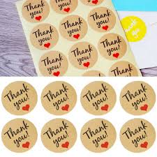 60Pcs <b>Thank You</b> Heart Round kraft paper Seal <b>sticker self adhesive</b> ...
