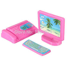 new dollhouse miniature modern computer keyboard furniture fax for pink for barbie accessories size doll free barbie dollhouse furniture cheap