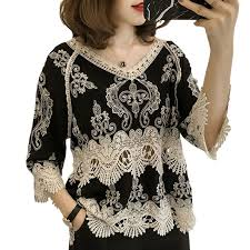 【Ready Stock】Korean <b>Elegant Vintage</b> Hollow V Neck <b>Embroidery</b> ...