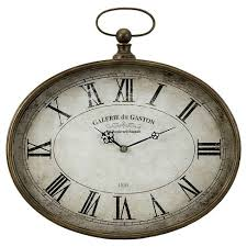 <b>Oval Pocket Watch</b> Clock Vintage Brass/Gray - Aurora : Target