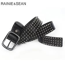 <b>RAINIE SEAN</b> Designer Brand Belt Men Rivet <b>Real Leather</b> Pin Belt ...