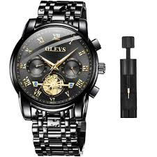OLEVS <b>Men</b> Watch Stainless Steel Black Wrist Watches Business ...