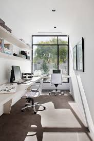 tan leather office home office contemporary with built in corner desk natural light natural lighting home office