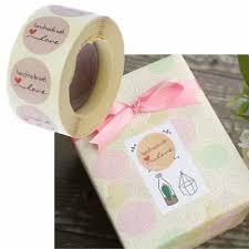 <b>1 Inch</b> Round Natural <b>Kraft</b> Paper Handmade with Love <b>Stickers</b> 500 ...