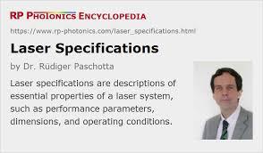 laser specifications, performance ... - RP Photonics Encyclopedia