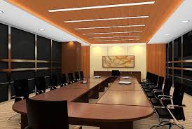 attractive office meeting room interior design ideas with oval brown laminated conferences table also black leather black leather office design