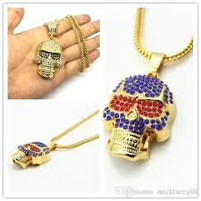 Wholesale <b>Cool Skull Head</b> Men <b>Necklace</b> Gift Hot Gold Filled Jesus ...