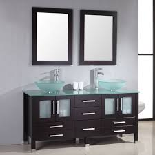 bathroom countertop basins wholesale: snazzy double green tempered glass vessel bathroom sink