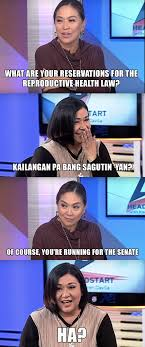 career advice don t be an alma moreno in your next job interview responses abounds during the whole program especially when davila asks moreno about her views on issues relevant to her prospective job in the senate